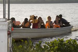 People on small boat at Rubondo Island