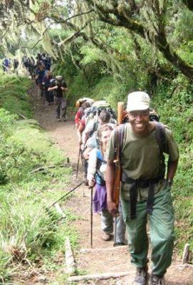 People hiking on Mount Meru