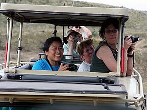 People enjoying a safari ride